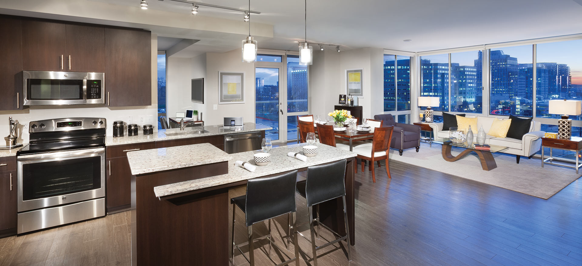Residence kitchen and living room at The Harrison
