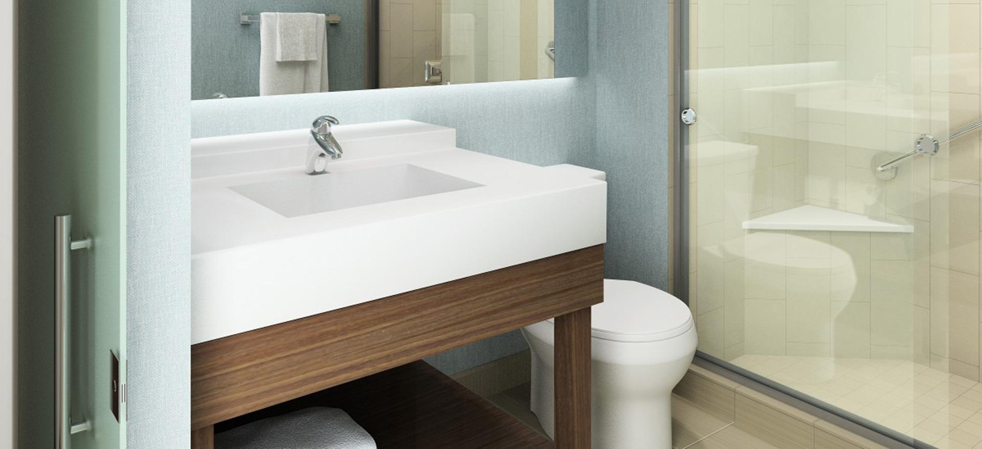 Contemporary bathroom in Hyatt Place Georgetown guestroom