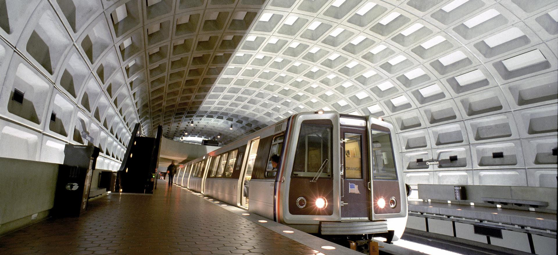 Metro train in underground station